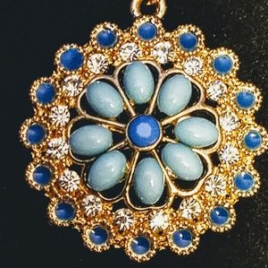 Jewelry - Vintage blue Moonstone, ca and blue cabochon neckl